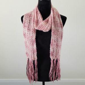 3/$20 VTG 60s Bamberger Pink Wool Knit Scarf